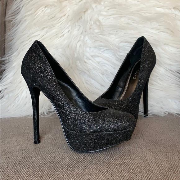 Bakers Shoes - Baker Platform Heels Glitter Black